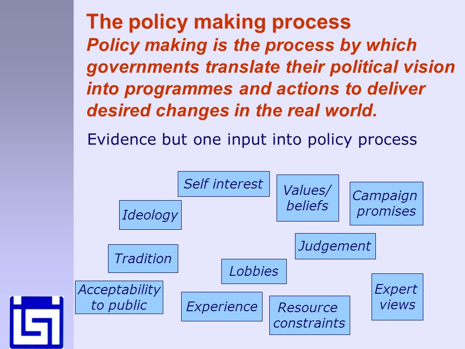 The policy making process Policy making is the process by which governments translate their political vision into programmes and actions to deliver desired changes in the real world.