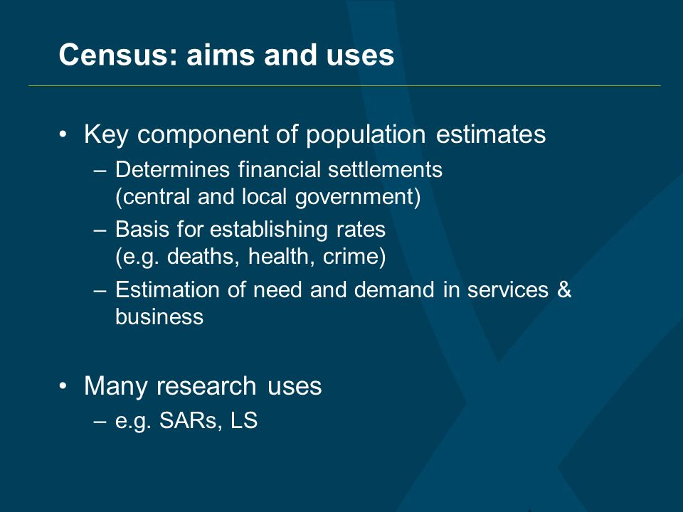 Census: aims and uses Key component of population estimates –Determines financial settlements (central and local government) –Basis for establishing rates (e.g.