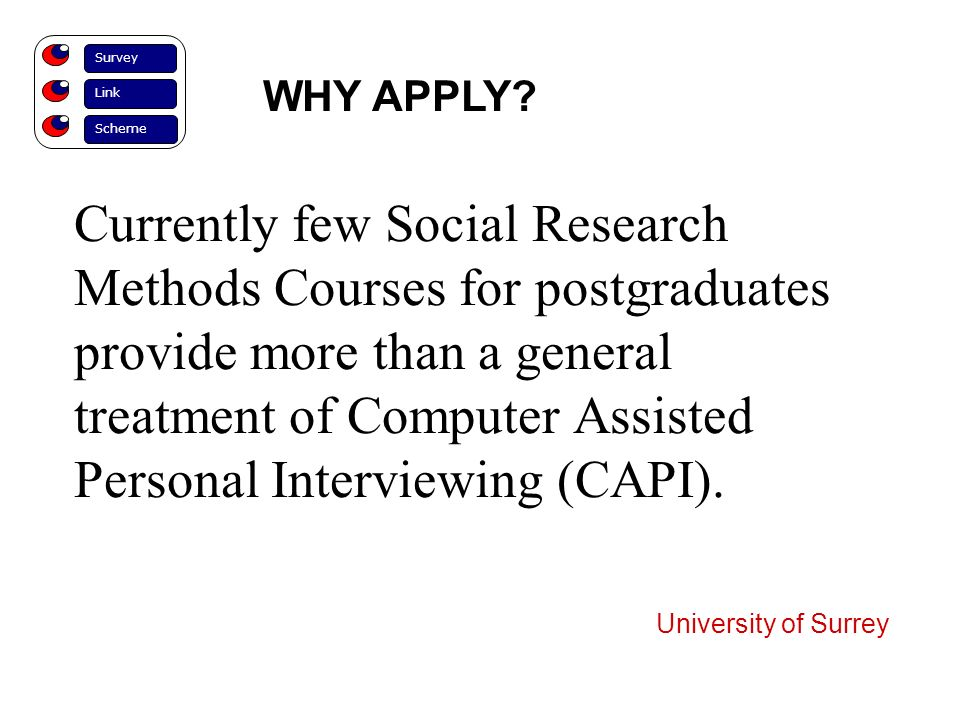 Currently few Social Research Methods Courses for postgraduates provide more than a general treatment of Computer Assisted Personal Interviewing (CAPI