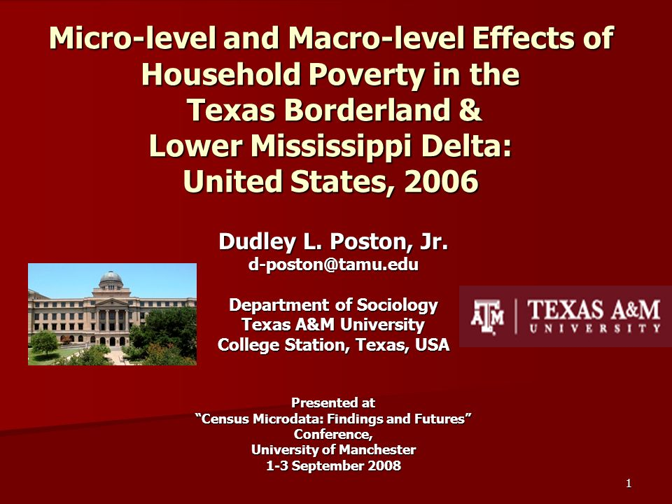 1 Micro-level and Macro-level Effects of Household Poverty in the Texas Borderland & Lower Mississippi Delta: United States, 2006 Dudley L.