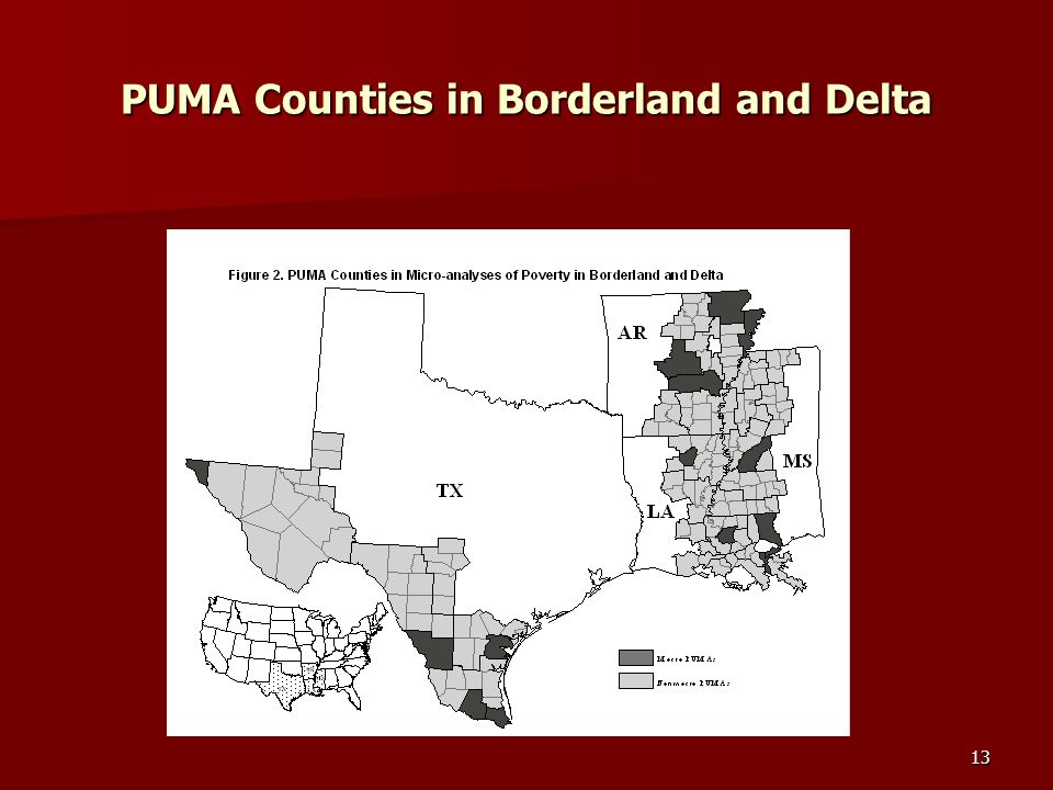 13 PUMA Counties in Borderland and Delta