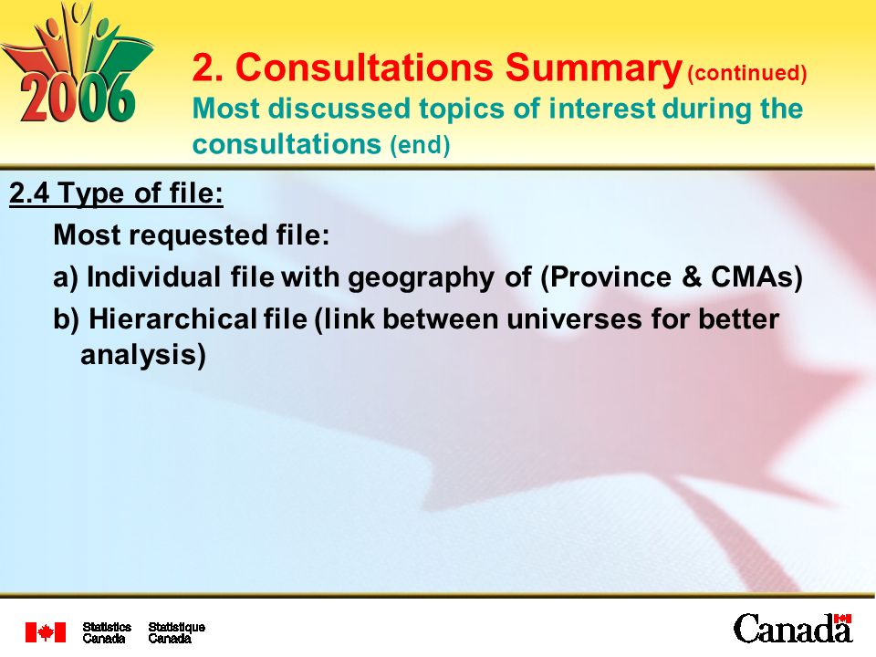 2. Consultations Summary (continued) Most discussed topics of interest during the consultations (end) 2.4 Type of file: Most requested file: a) Indivi