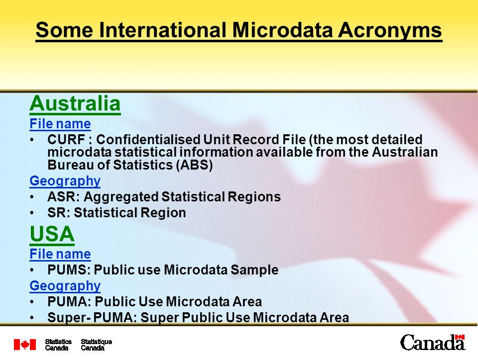 Some International Microdata Acronyms Australia File name CURF : Confidentialised Unit Record File (the most detailed microdata statistical information available from the Australian Bureau of Statistics (ABS) Geography ASR: Aggregated Statistical Regions SR: Statistical Region USA File name PUMS: Public use Microdata Sample Geography PUMA: Public Use Microdata Area Super- PUMA: Super Public Use Microdata Area