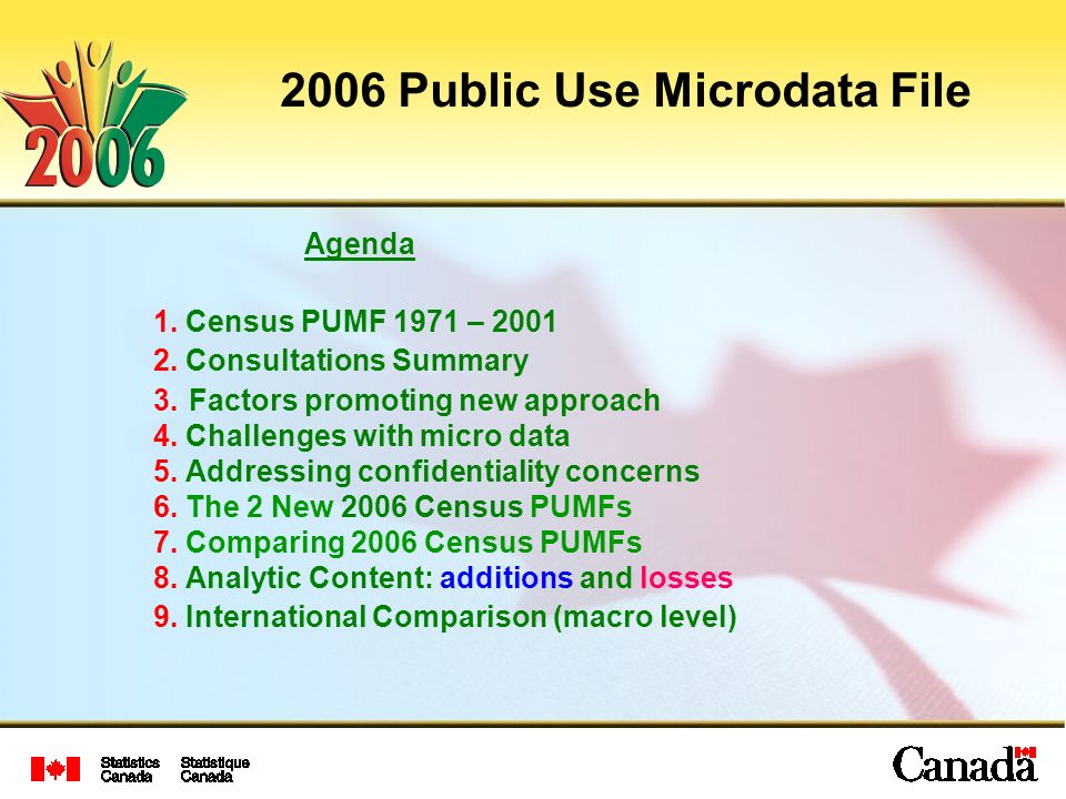 2006 Public Use Microdata File Agenda 1. Census PUMF 1971 –