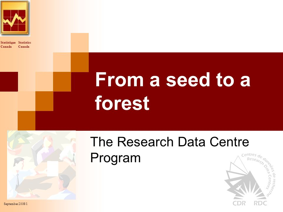 Statistics Canada Statistique Canada September 2008/1 From a seed to a forest The Research Data Centre Program