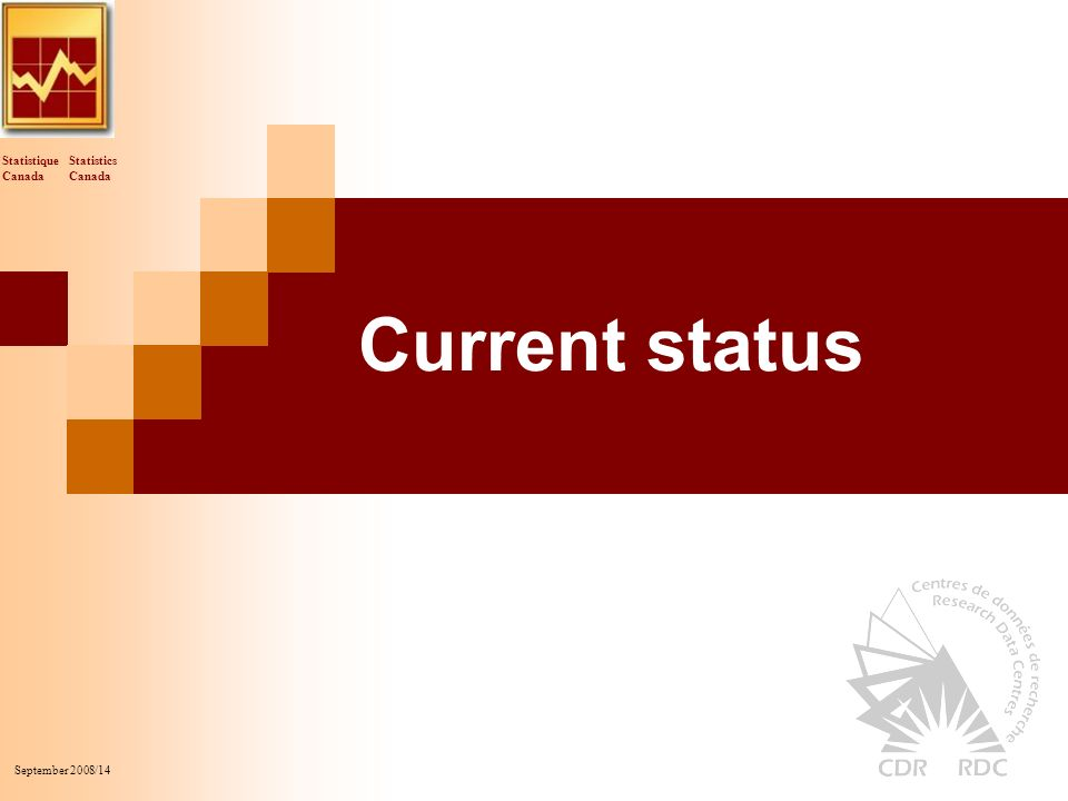 Statistics Canada Statistique Canada September 2008/14 Current status