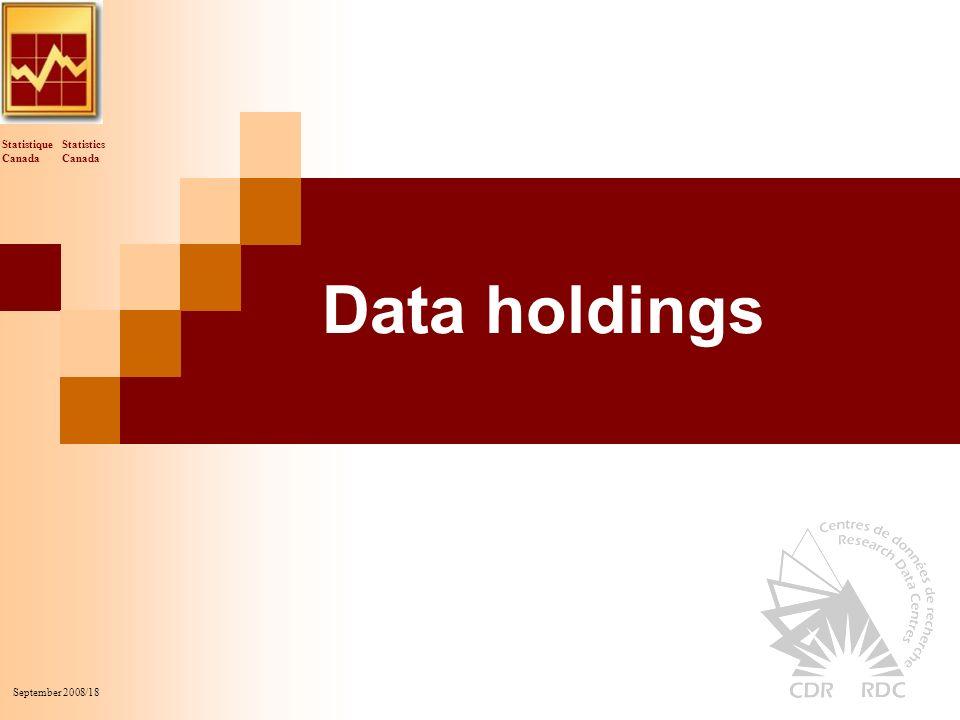 Statistics Canada Statistique Canada September 2008/18 Data holdings