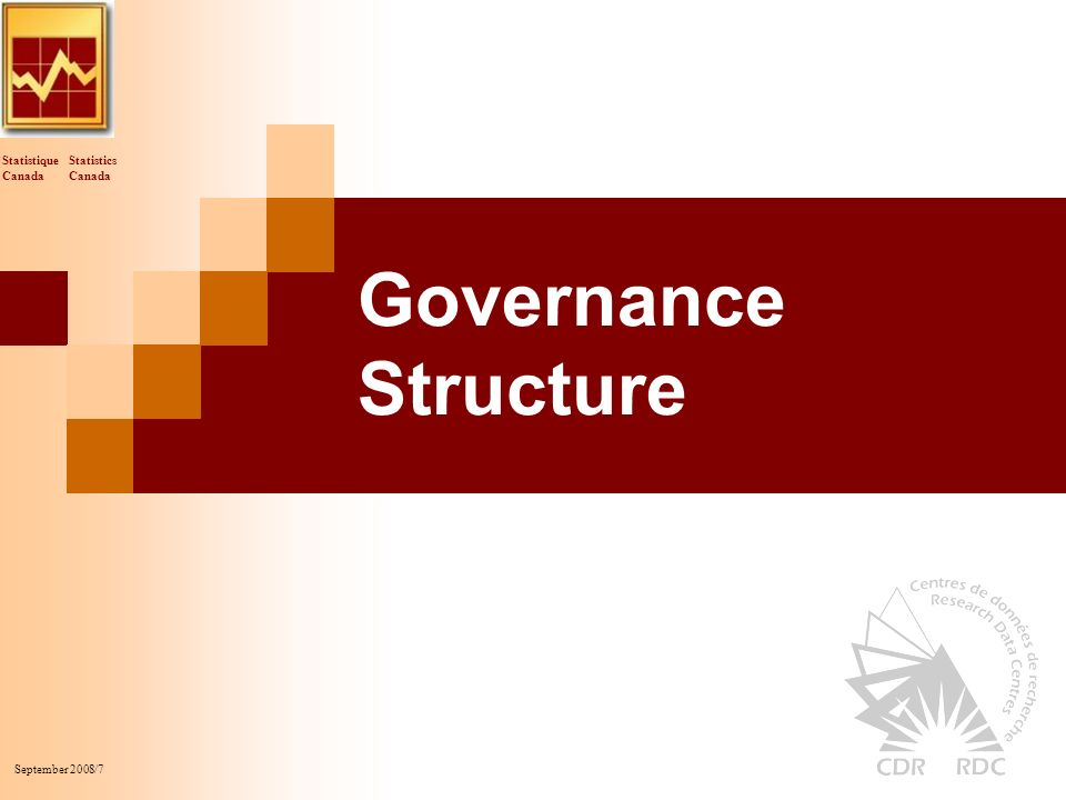 Statistics Canada Statistique Canada September 2008/7 Governance Structure