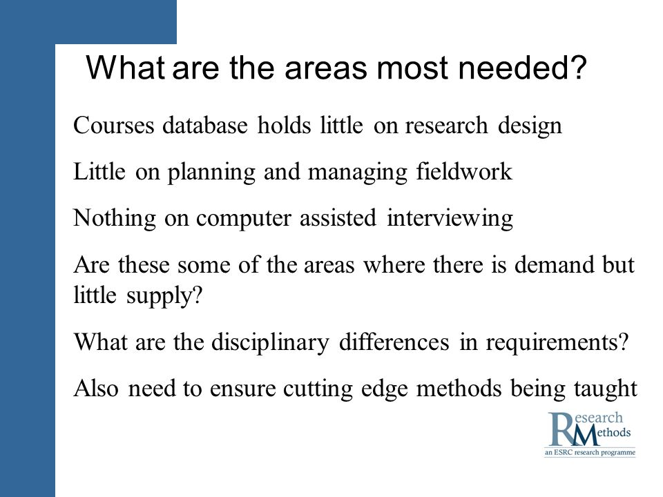 What are the areas most needed.