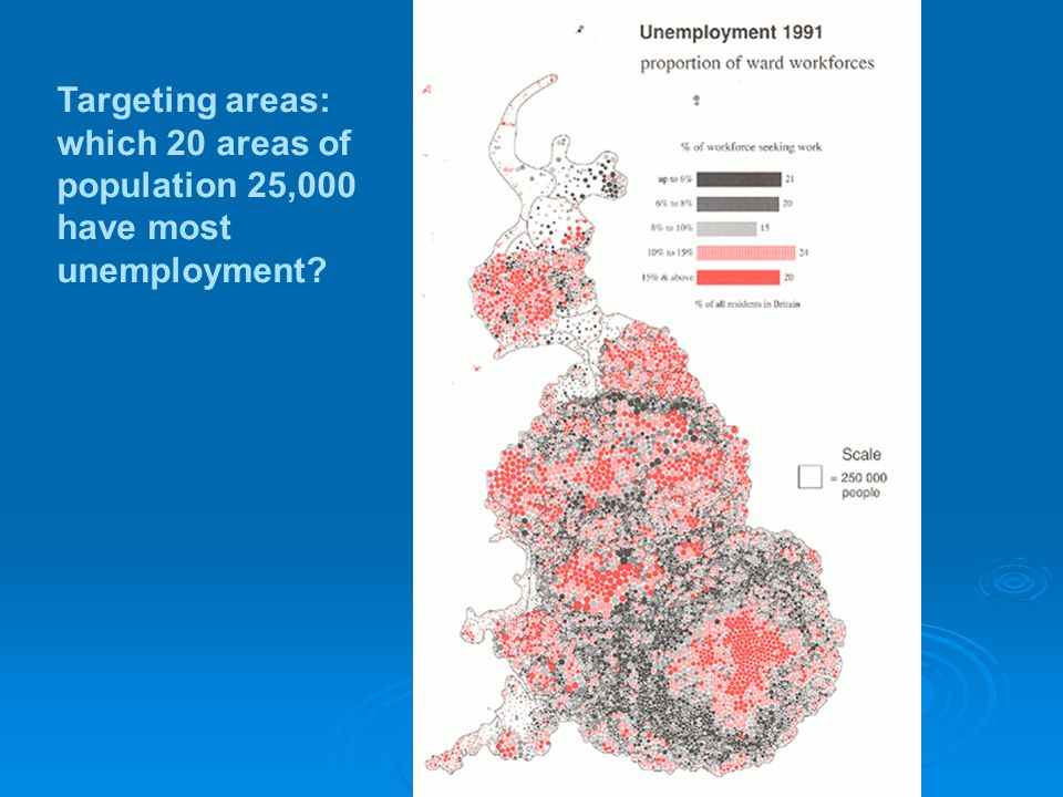 (3) Targeting areas of need Indices of deprivation Data for much smaller areas Automatic zoning, homogenous with respect to deprivation No need for complete zoning Different from redistricting Target size X from policy purpose