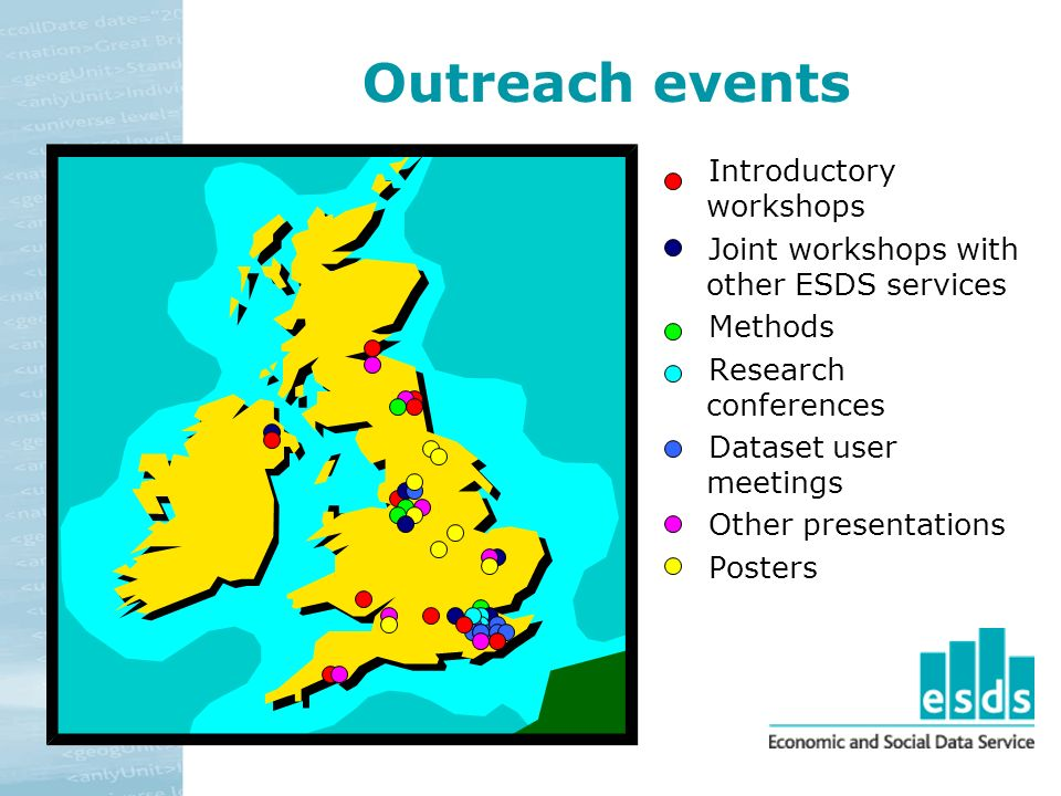 Outreach events Introductory workshops Joint workshops with other ESDS services Methods Research conferences Dataset user meetings Other presentations Posters