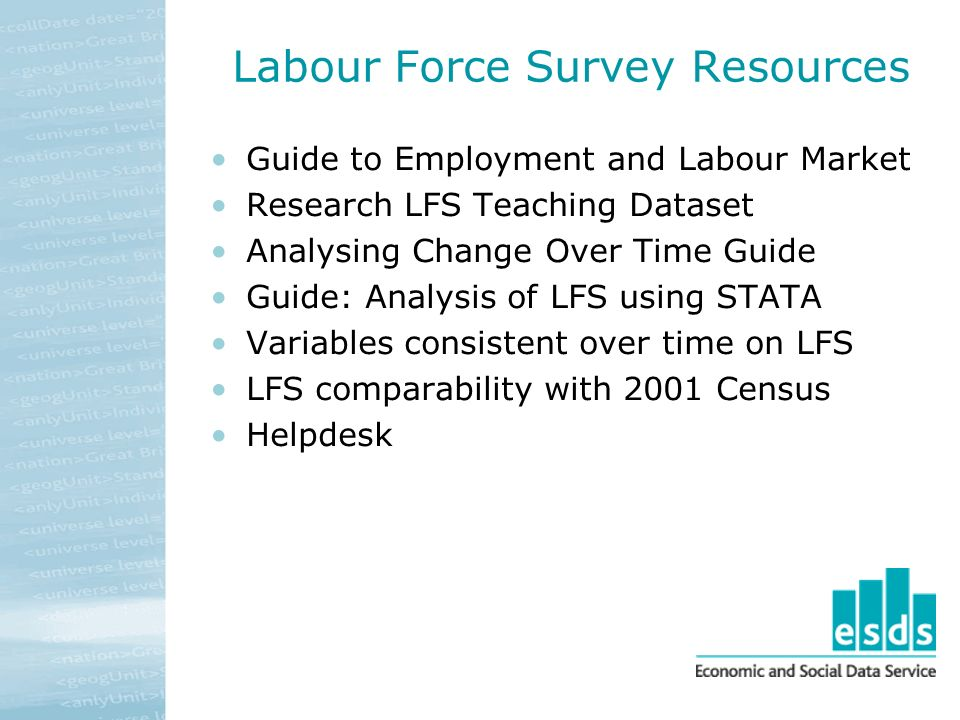 Labour Force Survey Resources Guide to Employment and Labour Market Research LFS Teaching Dataset Analysing Change Over Time Guide Guide: Analysis of LFS using STATA Variables consistent over time on LFS LFS comparability with 2001 Census Helpdesk