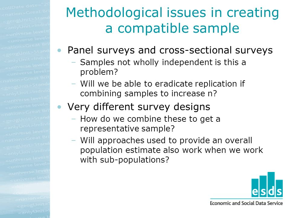 Methodological issues in creating a compatible sample Panel surveys and cross-sectional surveys –Samples not wholly independent is this a problem.