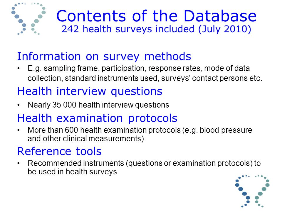 Contents of the Database 242 health surveys included (July 2010) Information on survey methods E.g.