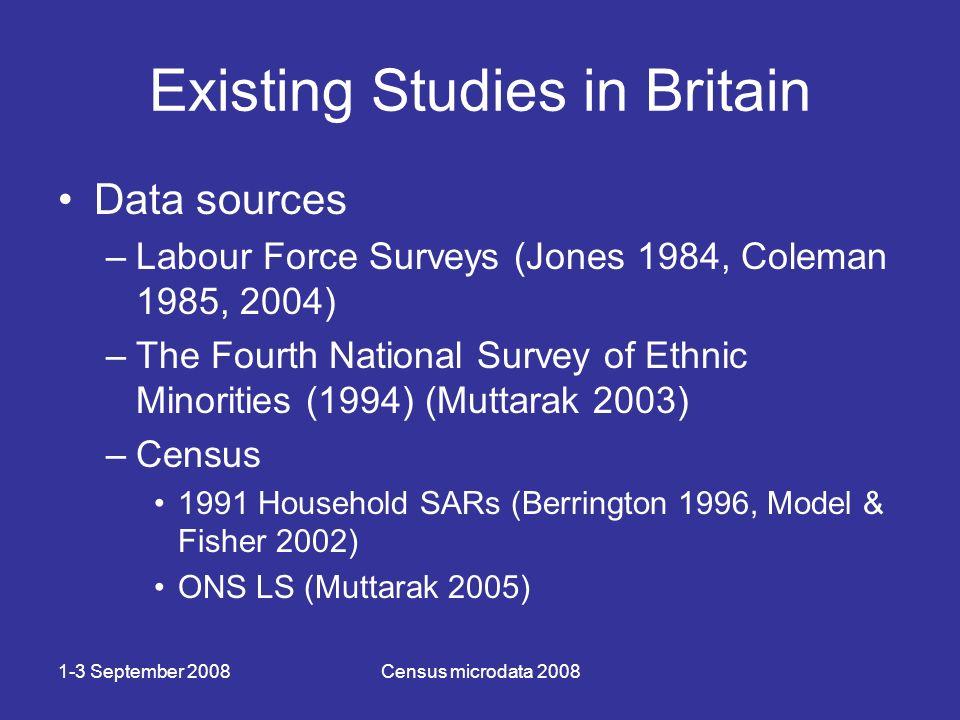 1-3 September 2008Census microdata 2008 Existing Studies in Britain Data sources –Labour Force Surveys (Jones 1984, Coleman 1985, 2004) –The Fourth National Survey of Ethnic Minorities (1994) (Muttarak 2003) –Census 1991 Household SARs (Berrington 1996, Model & Fisher 2002) ONS LS (Muttarak 2005)