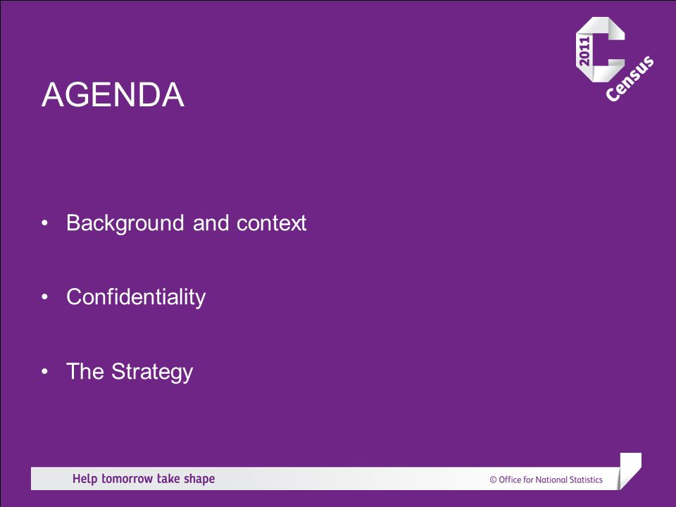 AGENDA Background and context Confidentiality The Strategy
