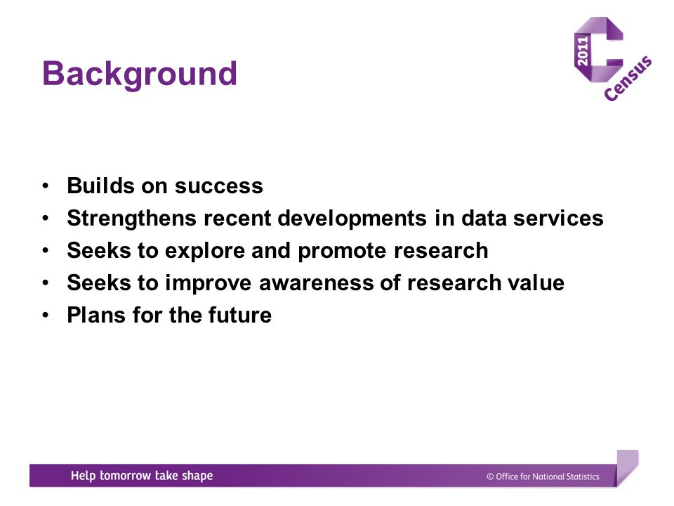 Background Builds on success Strengthens recent developments in data services Seeks to explore and promote research Seeks to improve awareness of research value Plans for the future
