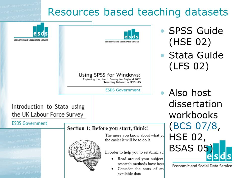 Resources based teaching datasets SPSS Guide (HSE 02) Stata Guide (LFS 02) Also host dissertation workbooks (BCS 07/8, HSE 02, BSAS 05)