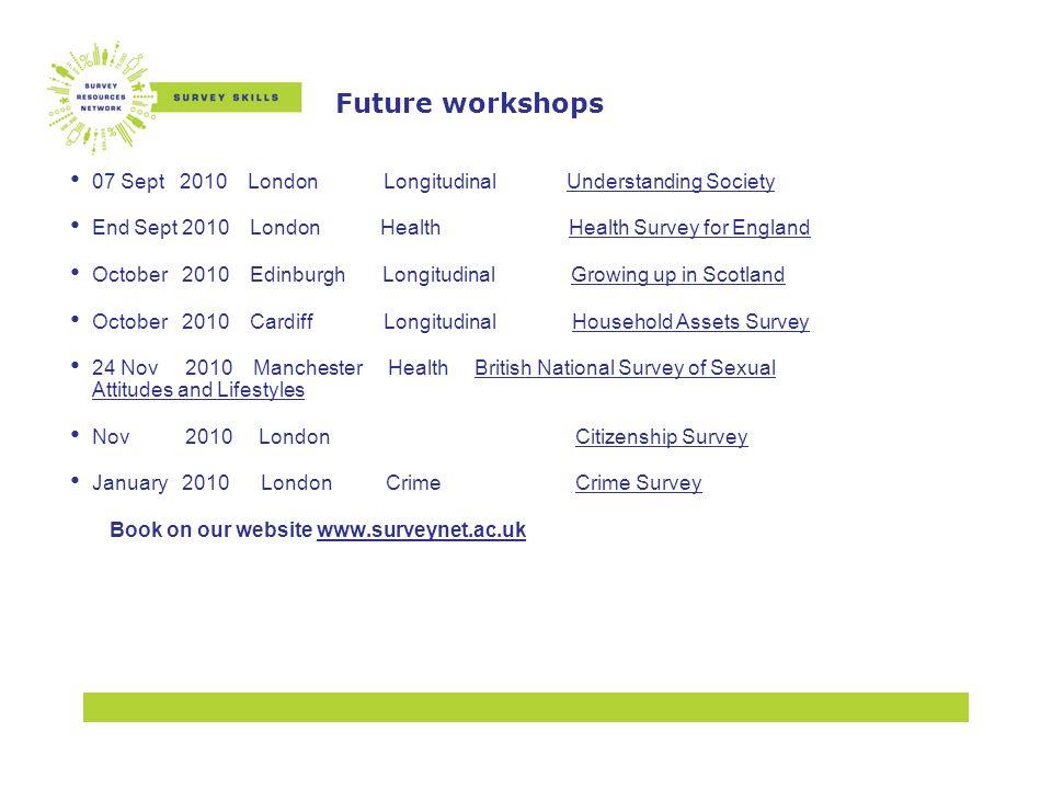 Future workshops 07 Sept 2010 London Longitudinal Understanding SocietyUnderstanding Society End Sept 2010 London Health Health Survey for England Oct
