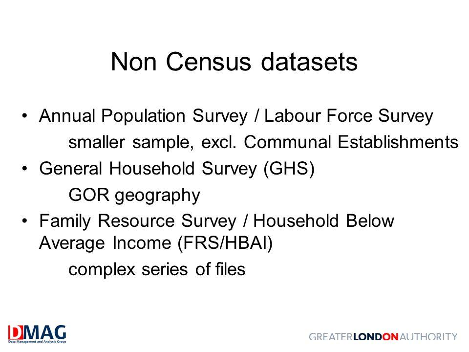 Non Census datasets Annual Population Survey / Labour Force Survey smaller sample, excl. Communal Establishments General Household Survey (GHS) GOR ge