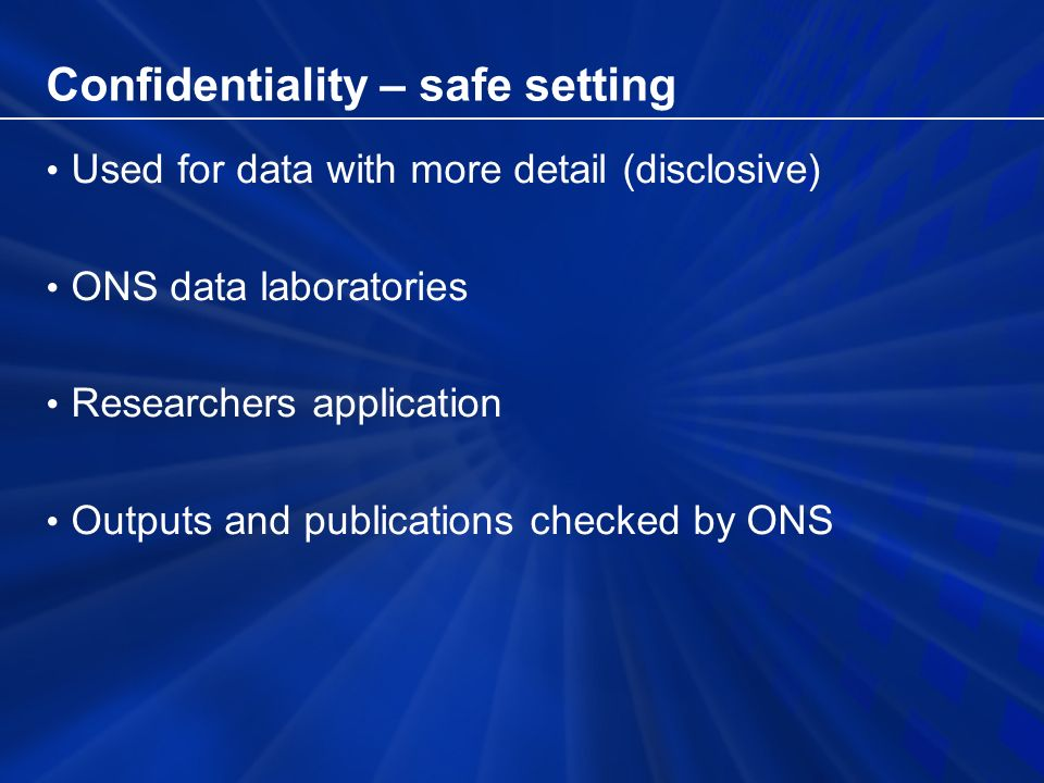 SARs Products 3% sample of individuals, access through CCSR (Individual Licensed SAR) 3% sample of individuals, controlled access microdata sample (CAMS) – in-house SARs 1% sample of households – CAMS 1% sample of households, access under special licence through UK Data Archive 5% sample of Small Area Microdata (SAM)