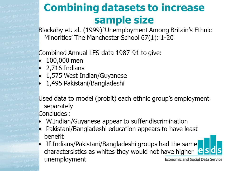 Blackaby et. al. (1999) Unemployment Among Britains Ethnic Minorities The Manchester School 67(1): 1-20 Combined Annual LFS data 1987-91 to give: 100,