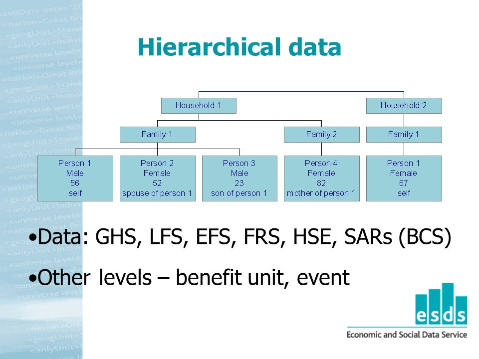 Hierarchical data Data: GHS, LFS, EFS, FRS, HSE, SARs (BCS) Other levels – benefit unit, event