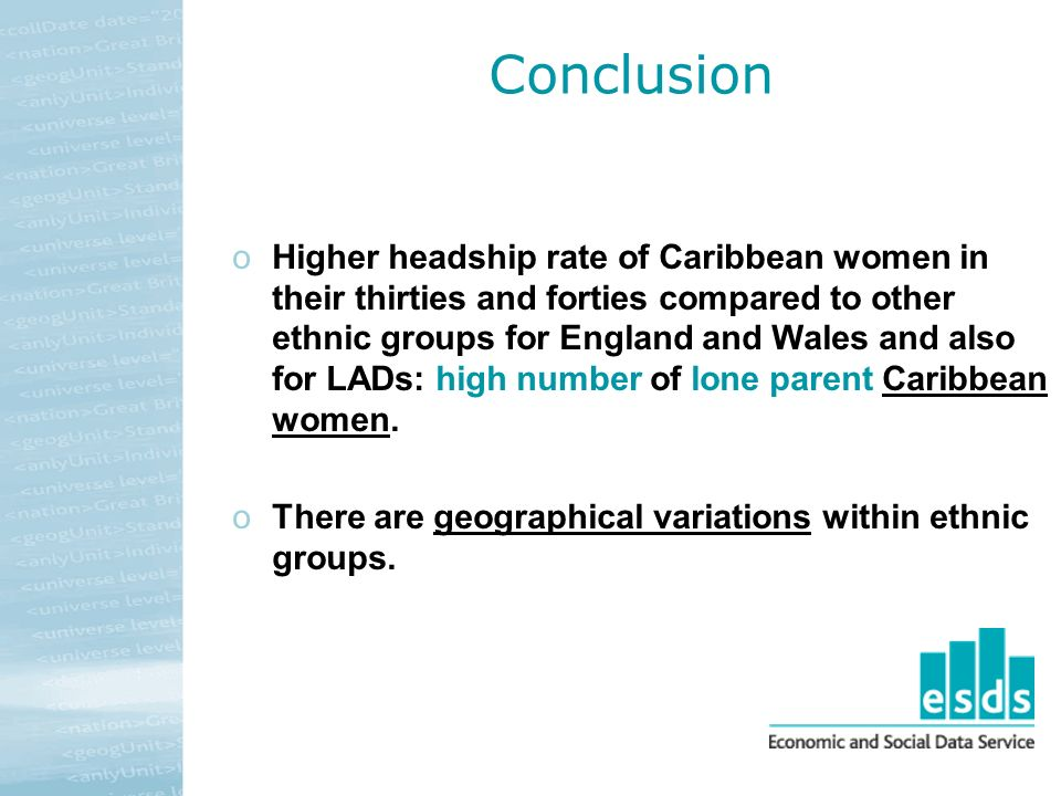 Conclusion oHigher headship rate of Caribbean women in their thirties and forties compared to other ethnic groups for England and Wales and also for LADs: high number of lone parent Caribbean women.