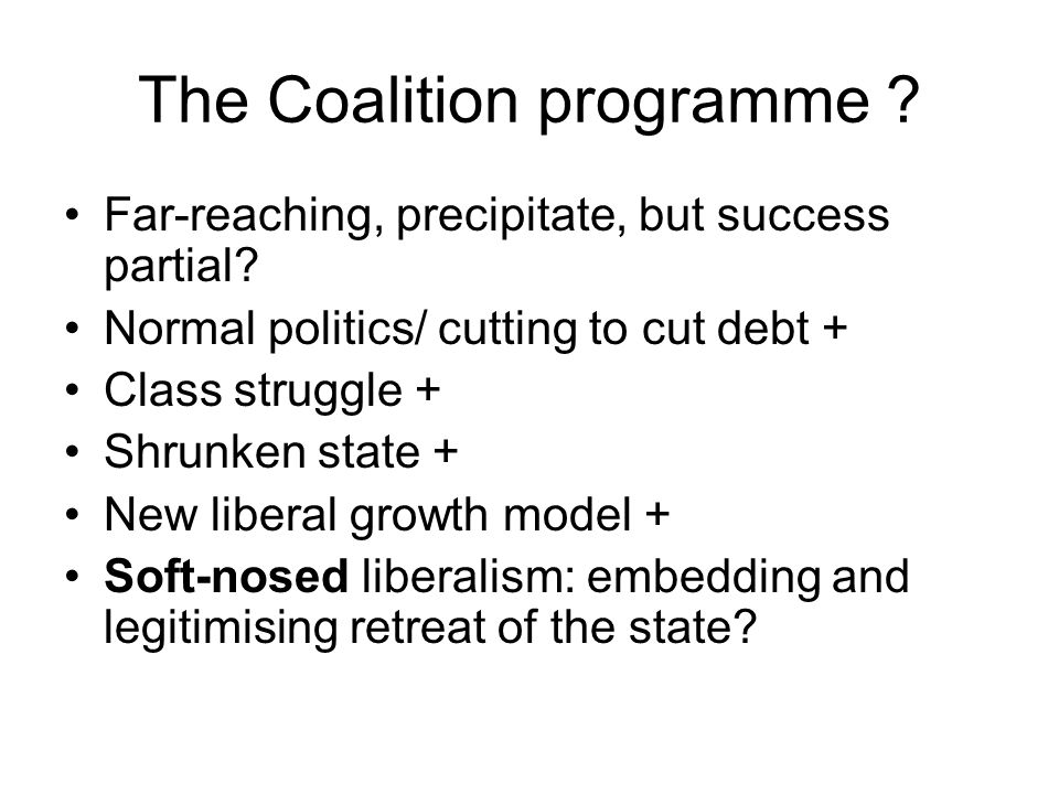 The Coalition programme . Far-reaching, precipitate, but success partial.
