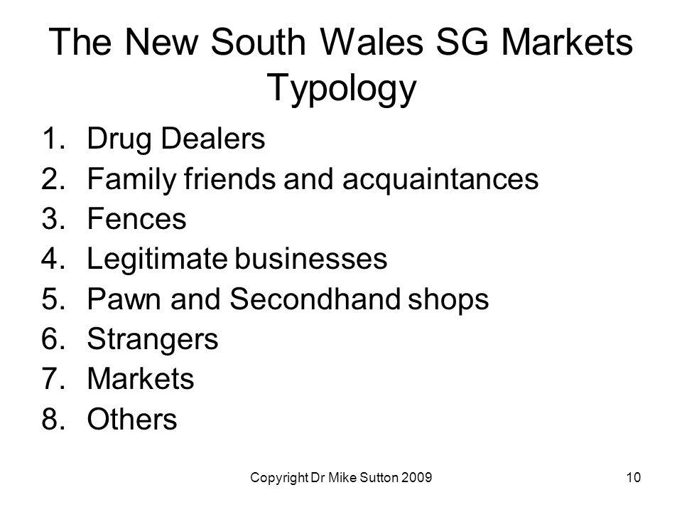 Copyright Dr Mike Sutton 200910 The New South Wales SG Markets Typology 1.Drug Dealers 2.Family friends and acquaintances 3.Fences 4.Legitimate busine