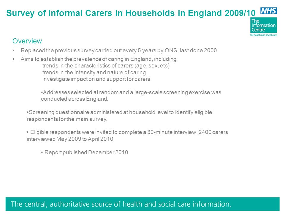 Survey of Informal Carers in Households in England 2009/10 Overview Replaced the previous survey carried out every 5 years by ONS, last done 2000 Aims