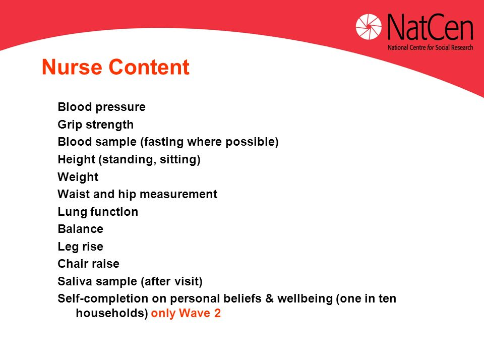 Nurse Content Blood pressure Grip strength Blood sample (fasting where possible) Height (standing, sitting) Weight Waist and hip measurement Lung function Balance Leg rise Chair raise Saliva sample (after visit) Self-completion on personal beliefs & wellbeing (one in ten households) only Wave 2