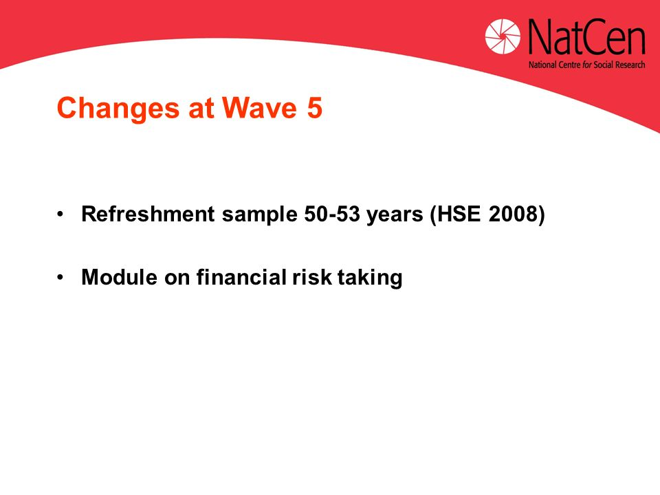 Changes at Wave 5 Refreshment sample 50-53 years (HSE 2008) Module on financial risk taking