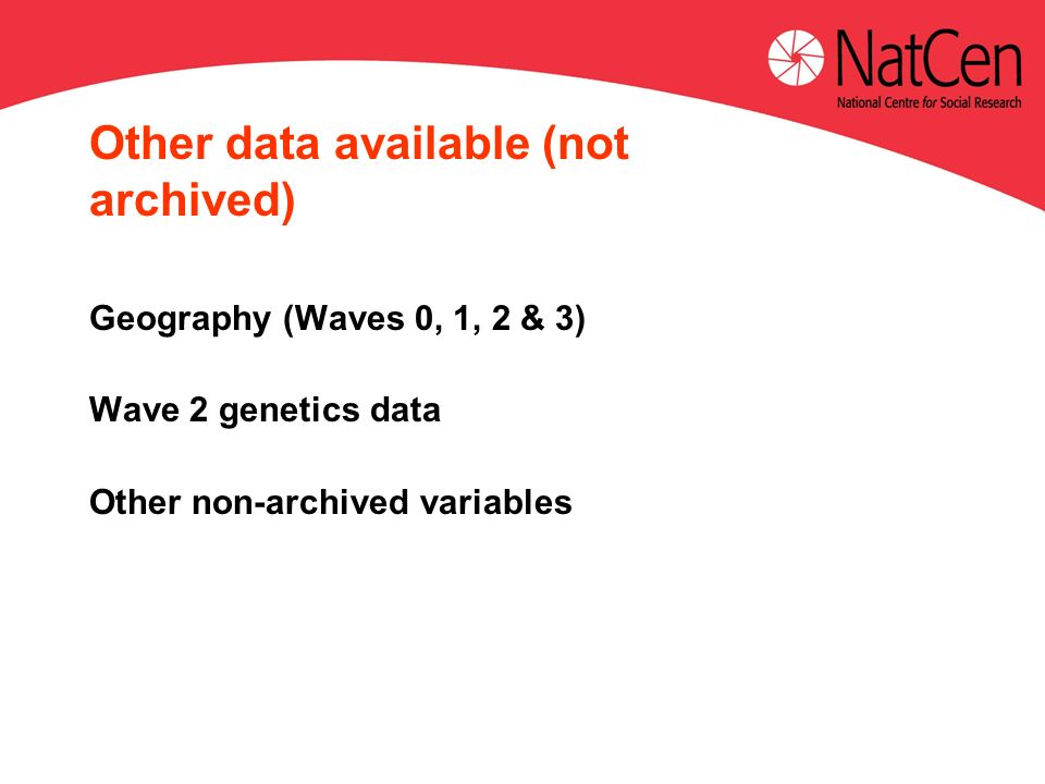 Other data available (not archived) Geography (Waves 0, 1, 2 & 3) Wave 2 genetics data Other non-archived variables
