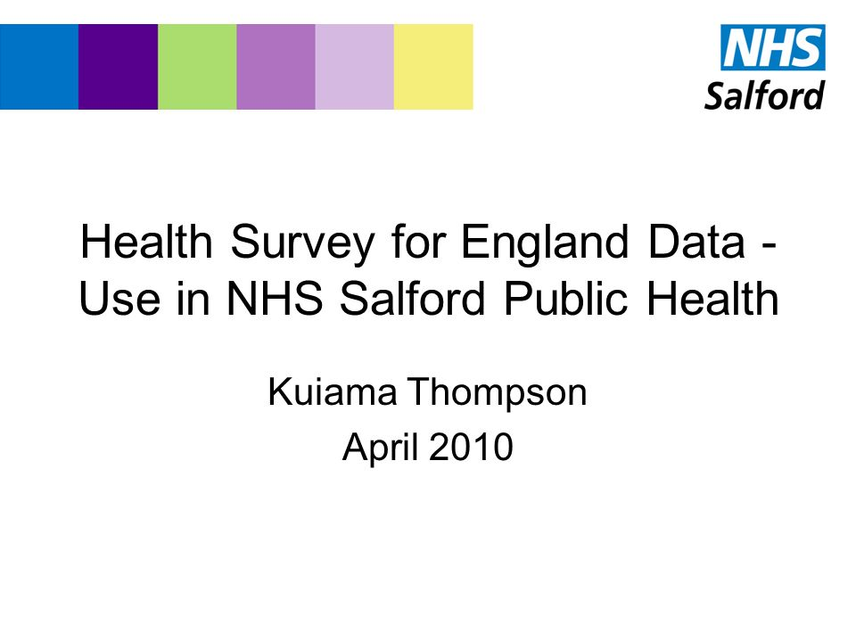 How NHS Salford has used Health Survey for England Data Provide estimates of population levels of need for services –Hypertension Prevalence –Obesity Prevalence –Alcohol Consumption