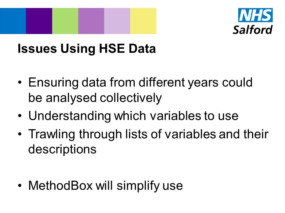 Issues Using HSE Data Ensuring data from different years could be analysed collectively Understanding which variables to use Trawling through lists of