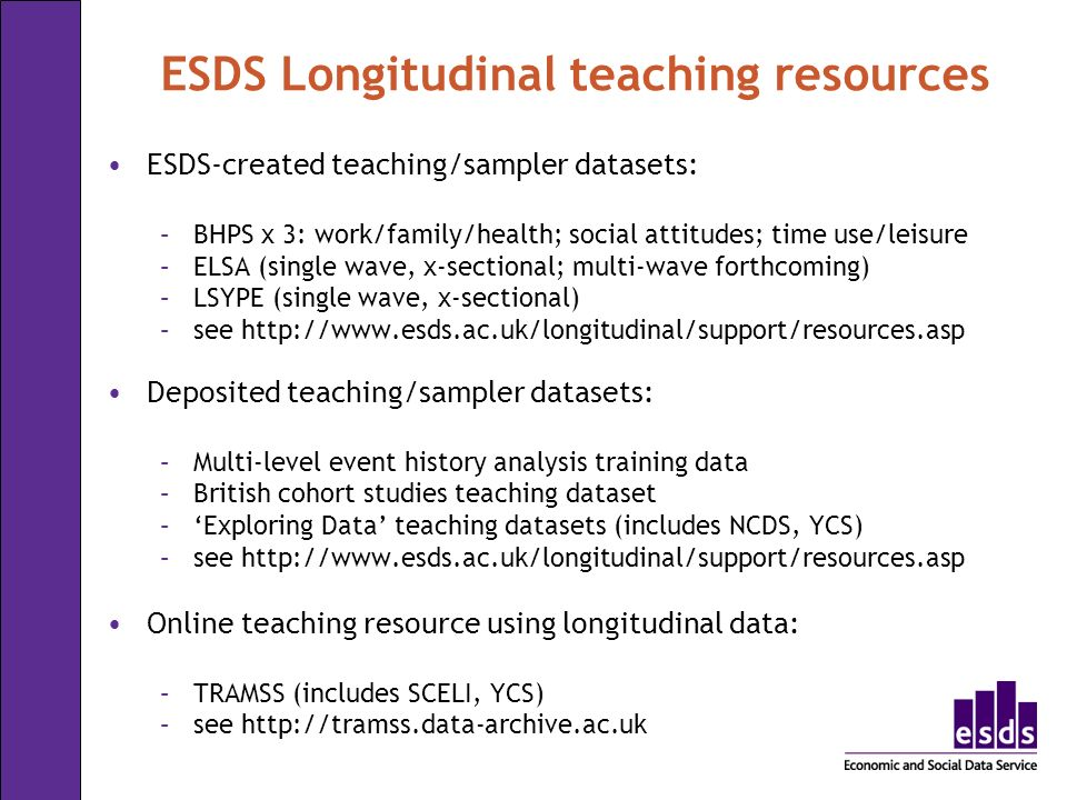 ESDS Longitudinal teaching resources ESDS-created teaching/sampler datasets: –BHPS x 3: work/family/health; social attitudes; time use/leisure –ELSA (