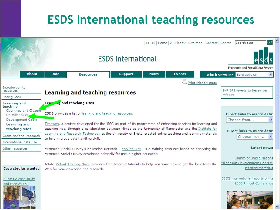 ESDS International teaching resources