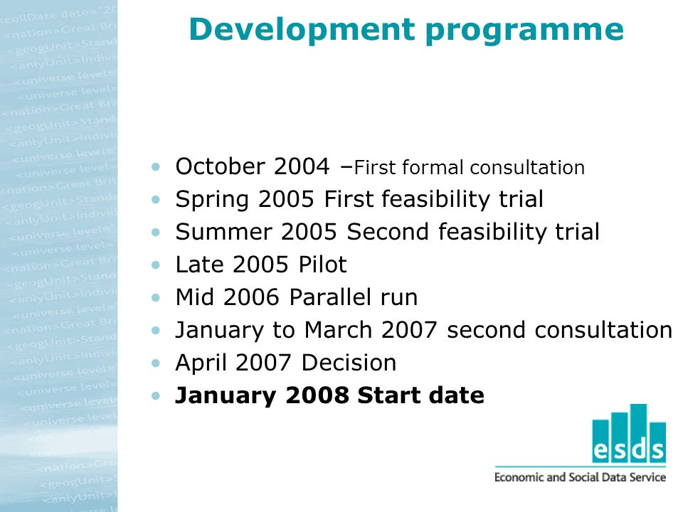 Development programme October 2004 – First formal consultation Spring 2005 First feasibility trial Summer 2005 Second feasibility trial Late 2005 Pilot Mid 2006 Parallel run January to March 2007 second consultation April 2007 Decision January 2008 Start date
