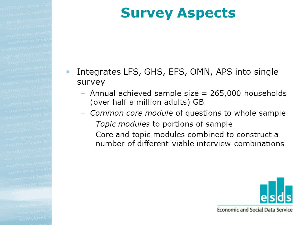 Survey Aspects Integrates LFS, GHS, EFS, OMN, APS into single survey –Annual achieved sample size = 265,000 households (over half a million adults) GB