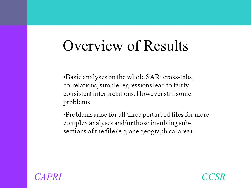 CAPRI CCSR Overview of Results Basic analyses on the whole SAR: cross-tabs, correlations, simple regressions lead to fairly consistent interpretations.