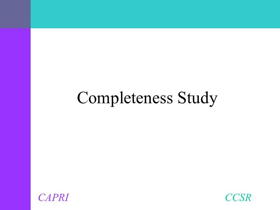 CAPRI CCSR Completeness Study