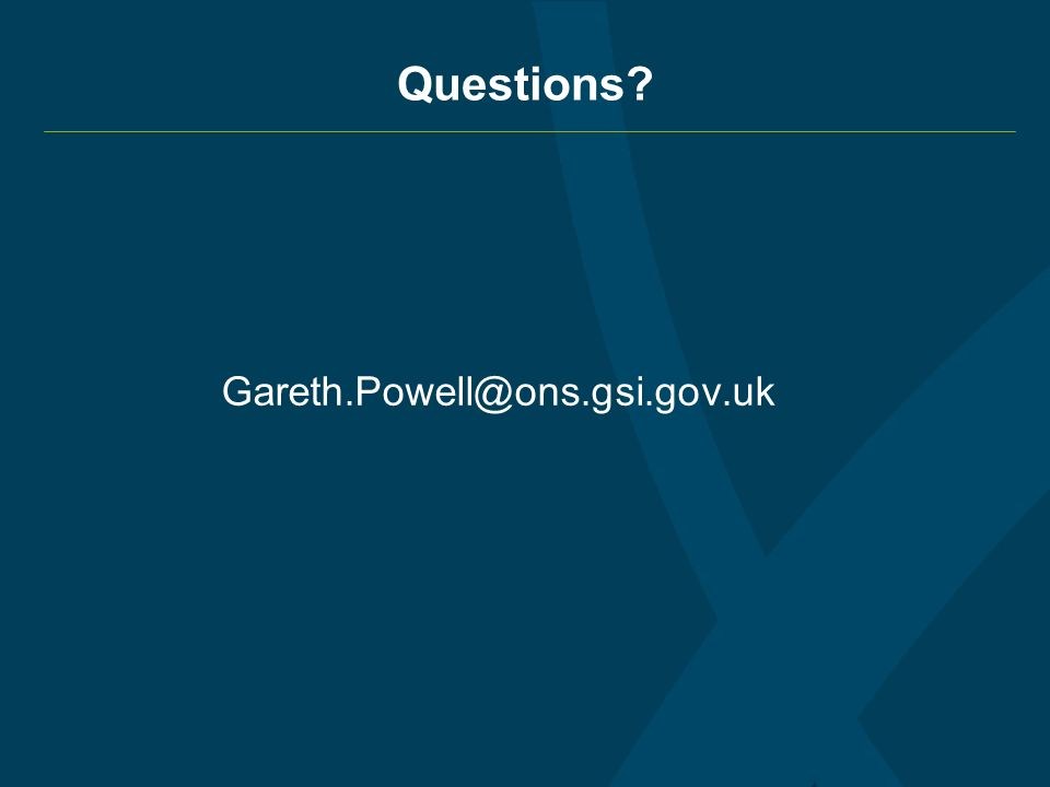 Questions? Gareth.Powell@ons.gsi.gov.uk