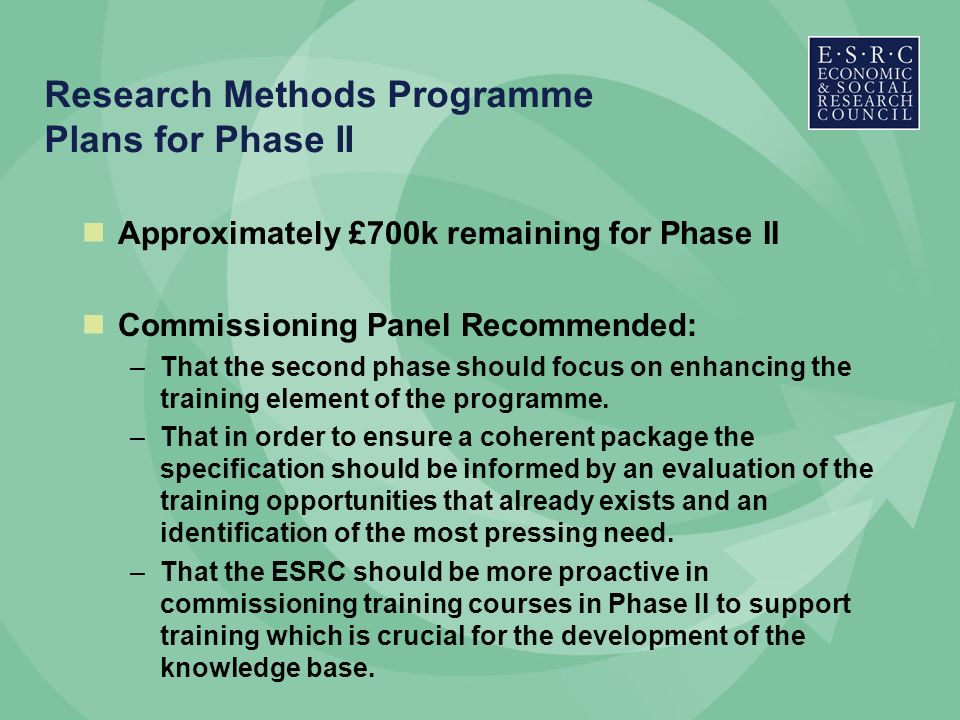 Research Methods Programme Plans for Phase II Approximately £700k remaining for Phase II Commissioning Panel Recommended: –That the second phase should focus on enhancing the training element of the programme.