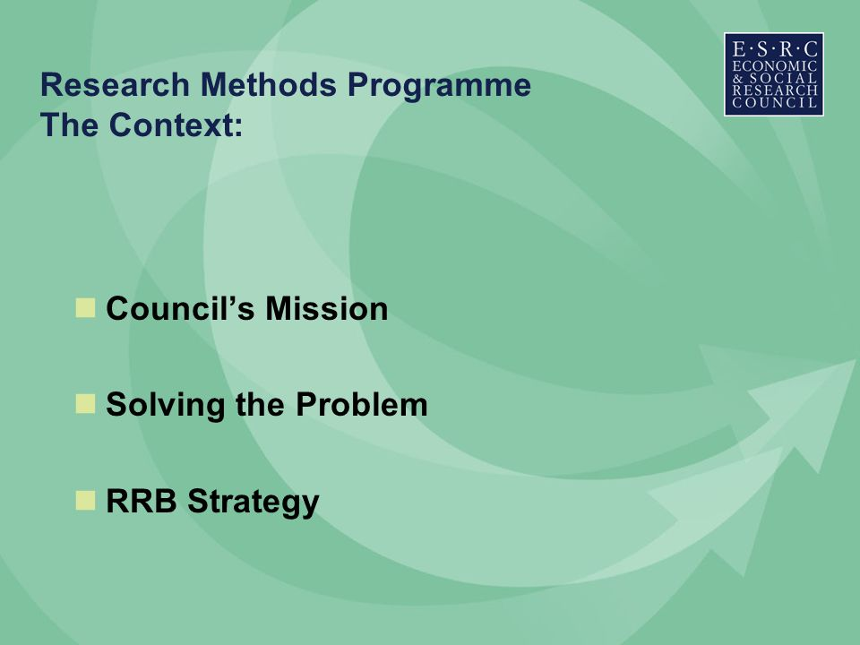 Research Methods Programme The Context: Councils Mission Solving the Problem RRB Strategy