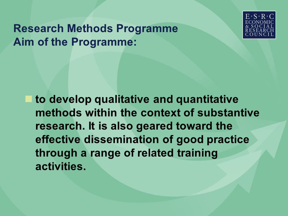 Research Methods Programme Aim of the Programme: to develop qualitative and quantitative methods within the context of substantive research.