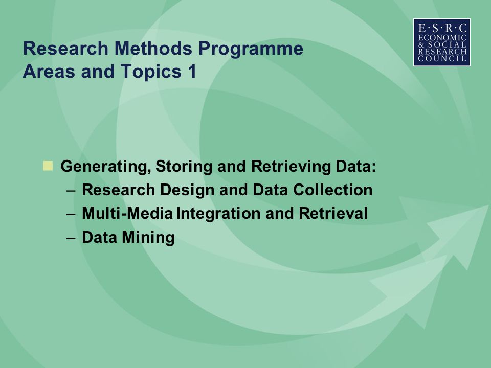 Research Methods Programme Areas and Topics 1 Generating, Storing and Retrieving Data: –Research Design and Data Collection –Multi-Media Integration and Retrieval –Data Mining