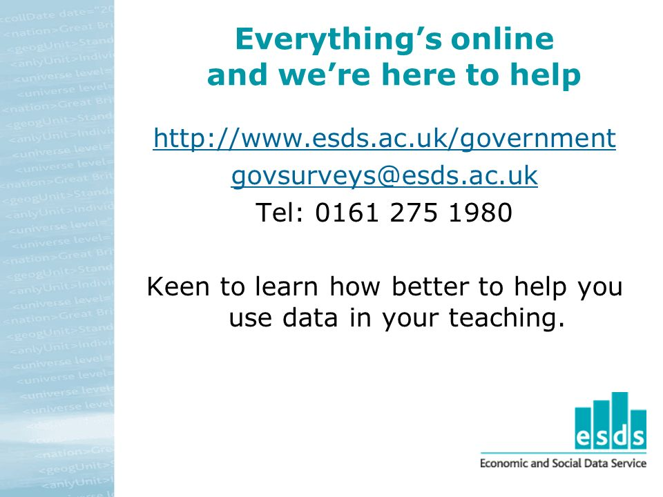 Everythings online and were here to help   Tel: Keen to learn how better to help you use data in your teaching.