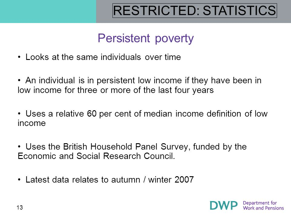 RESTRICTED: STATISTICS 14 Persistent poverty levels