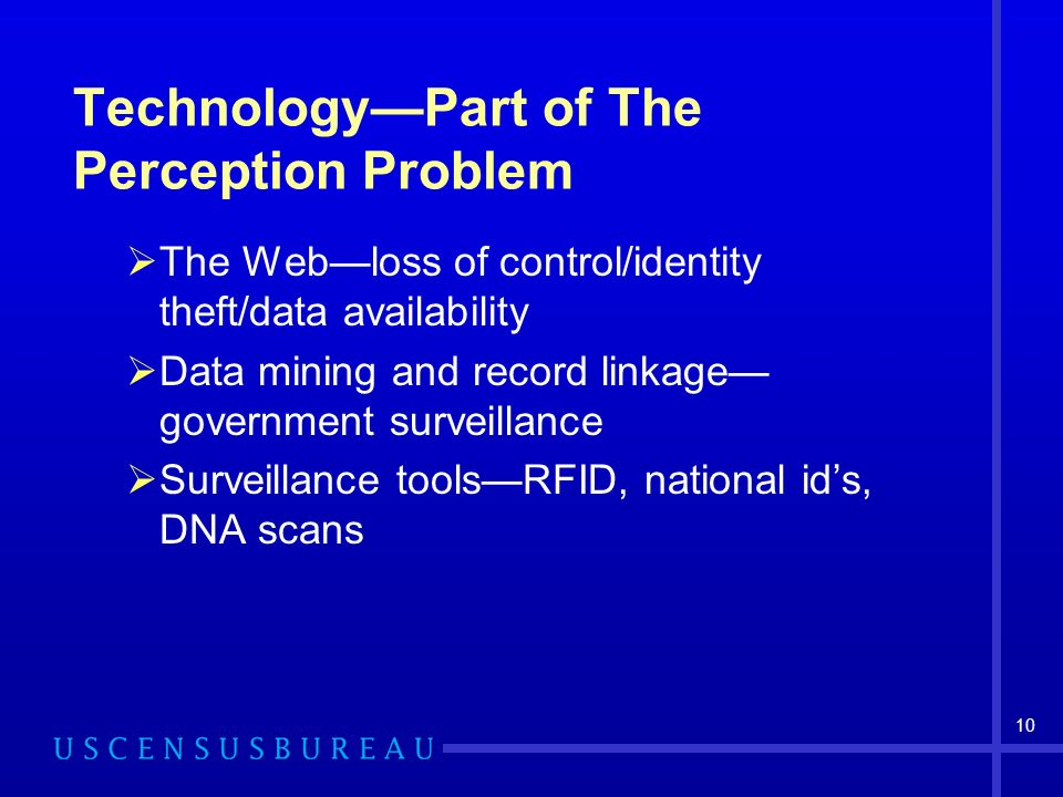 10 TechnologyPart of The Perception Problem The Webloss of control/identity theft/data availability Data mining and record linkage government surveillance Surveillance toolsRFID, national ids, DNA scans